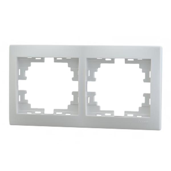 Рамка Lezard MIRA 701-0200-147 двухместная горизонтальная белый