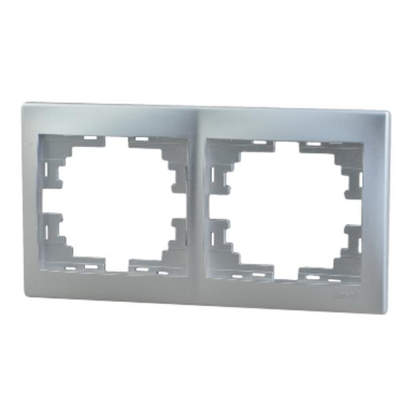Рамка Lezard MIRA 701-1000-147 двухместная горизонтальная металл серый