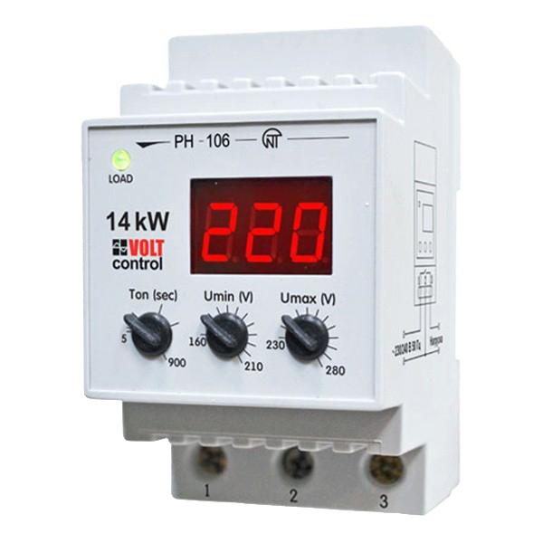 Реле напряжения модульное Новатек РН-106 230 В 60 А тип AC 1P+N