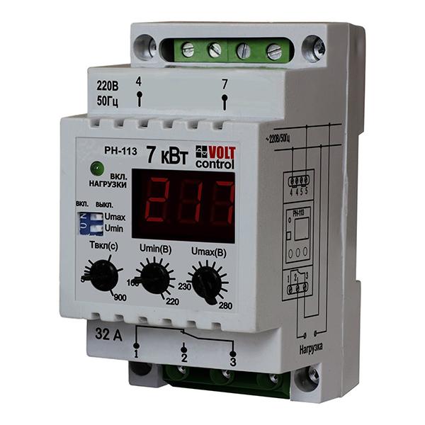 Реле напряжения модульное Новатек РН-113 230 В 32 А тип AC 1P+N