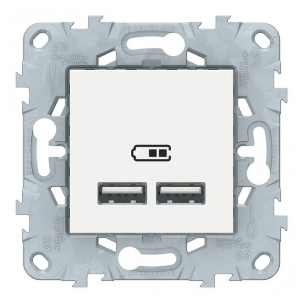 Розетка USB Schneider Electric Unica NEW NU541818 скрытая установка белая два модуля для зарядки 2100 мА