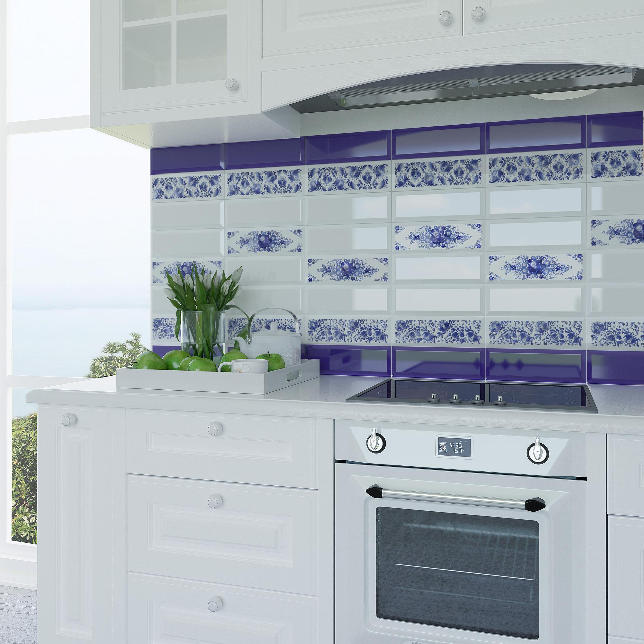 Плитка декор Gracia Ceramica Метро Гжель 02 бело-синий 100x300x8 мм фото