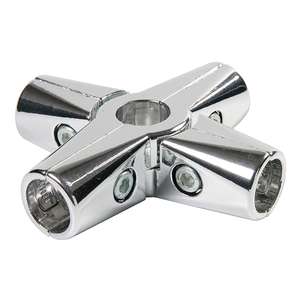 Соединитель крестообразный для шести труб к системе Joker d25 мм усиленный хром держатель краб для двух труб d25 мм цвет хром