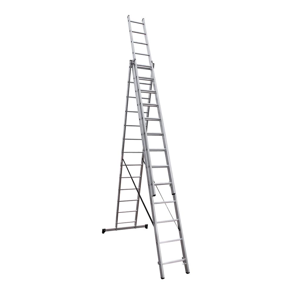 Фото - Лестница трансформер Новая высота NV 100 трехсекционная алюминиевая 3х13 профессиональная стремянка новая высота nv 2115 10 ступеней алюминиевая с лотком органайзером ступень 80 мм