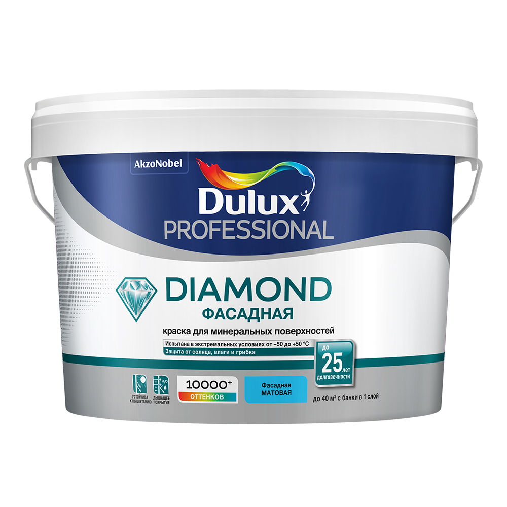 цена на Краска водно-дисперсионная фасадная Dulux Professional Diamond основа BC 2,25 л