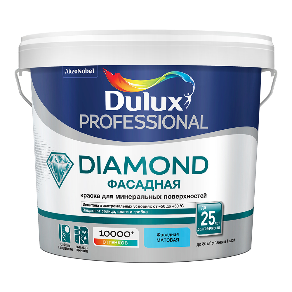 цена на Краска водно-дисперсионная фасадная Dulux Professional Diamond основа BC 4,5 л