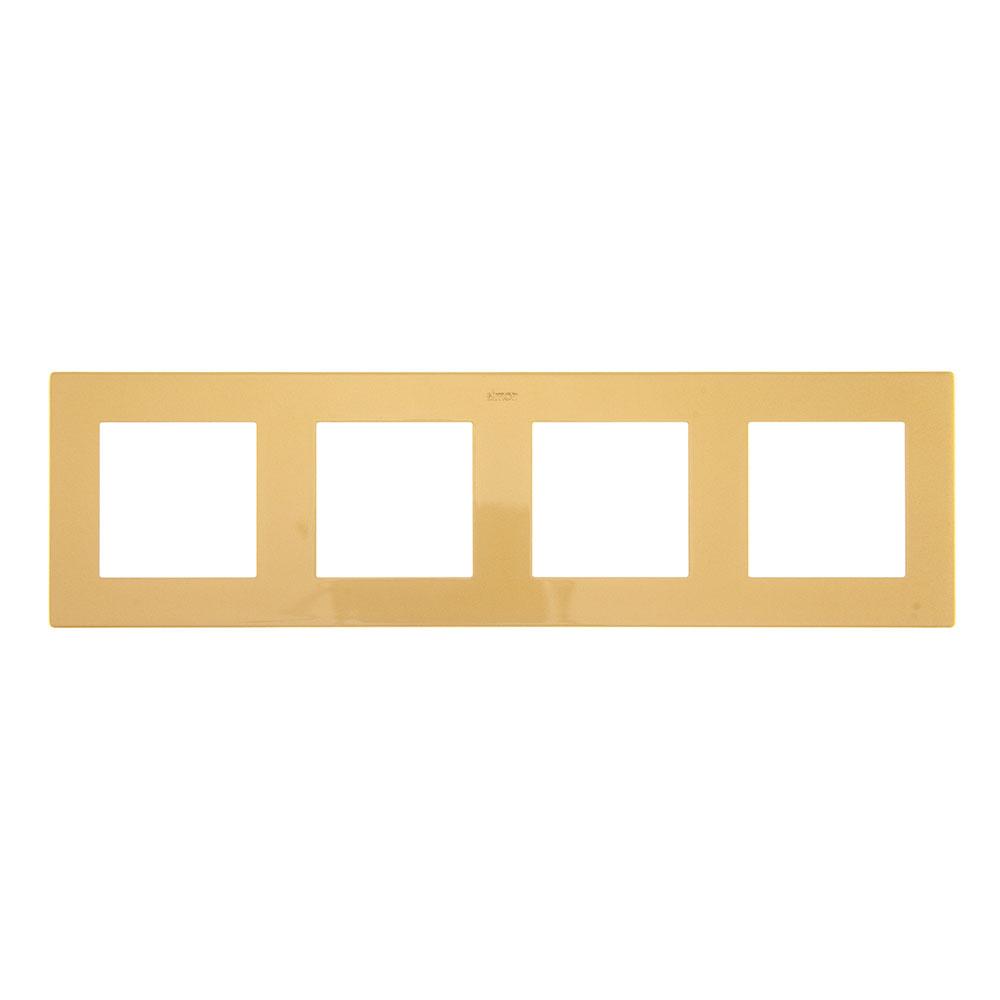 Рамка Simon 24 Harmonie 2400640-066 четырехместная универсальная золото рамка simon 24 harmonie 2400630 066 трехместная универсальная золото
