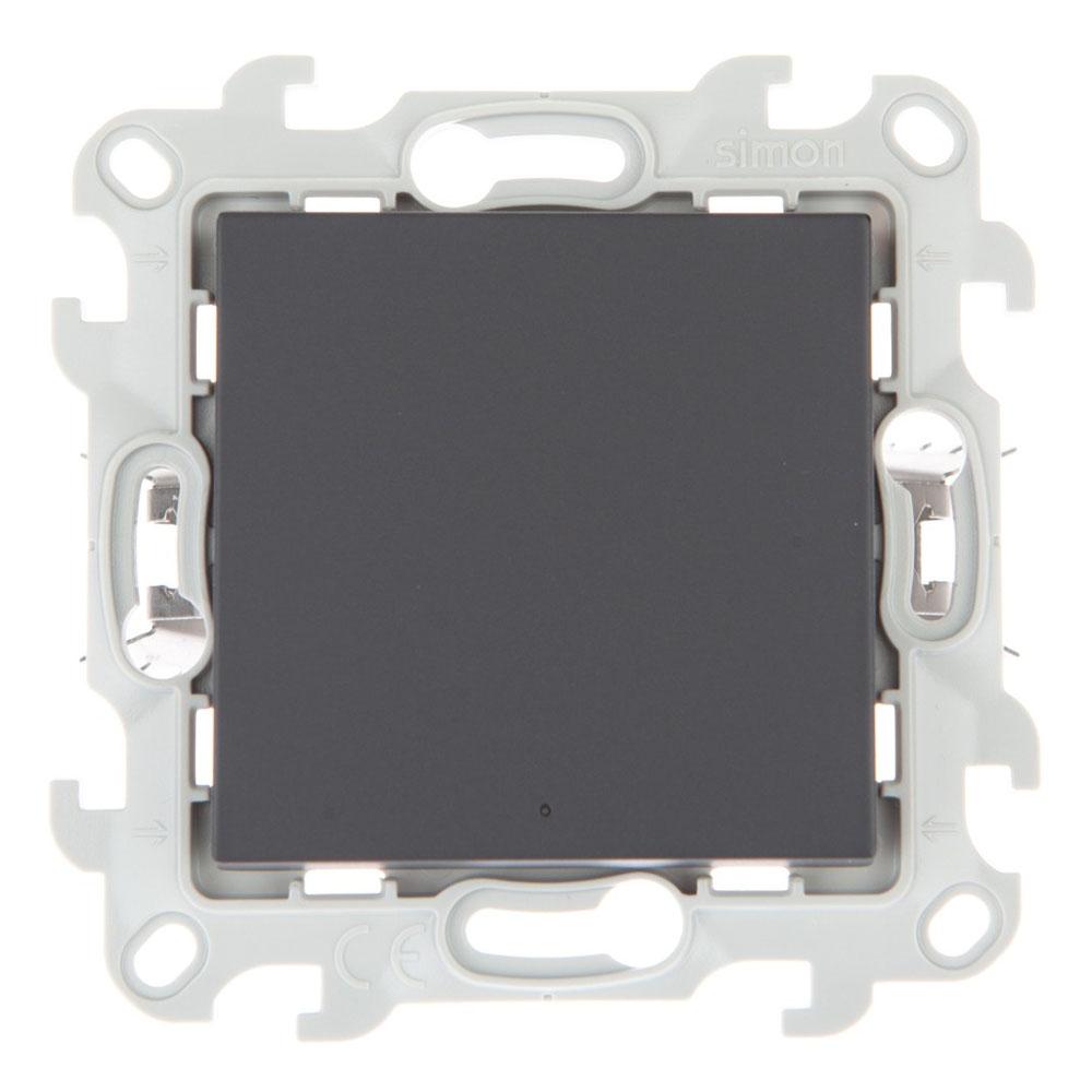 Переключатель Simon 24 Harmonie 2420204-038 одноклавишный на 2 направления скрытая установка графит без заземления с подсветкой