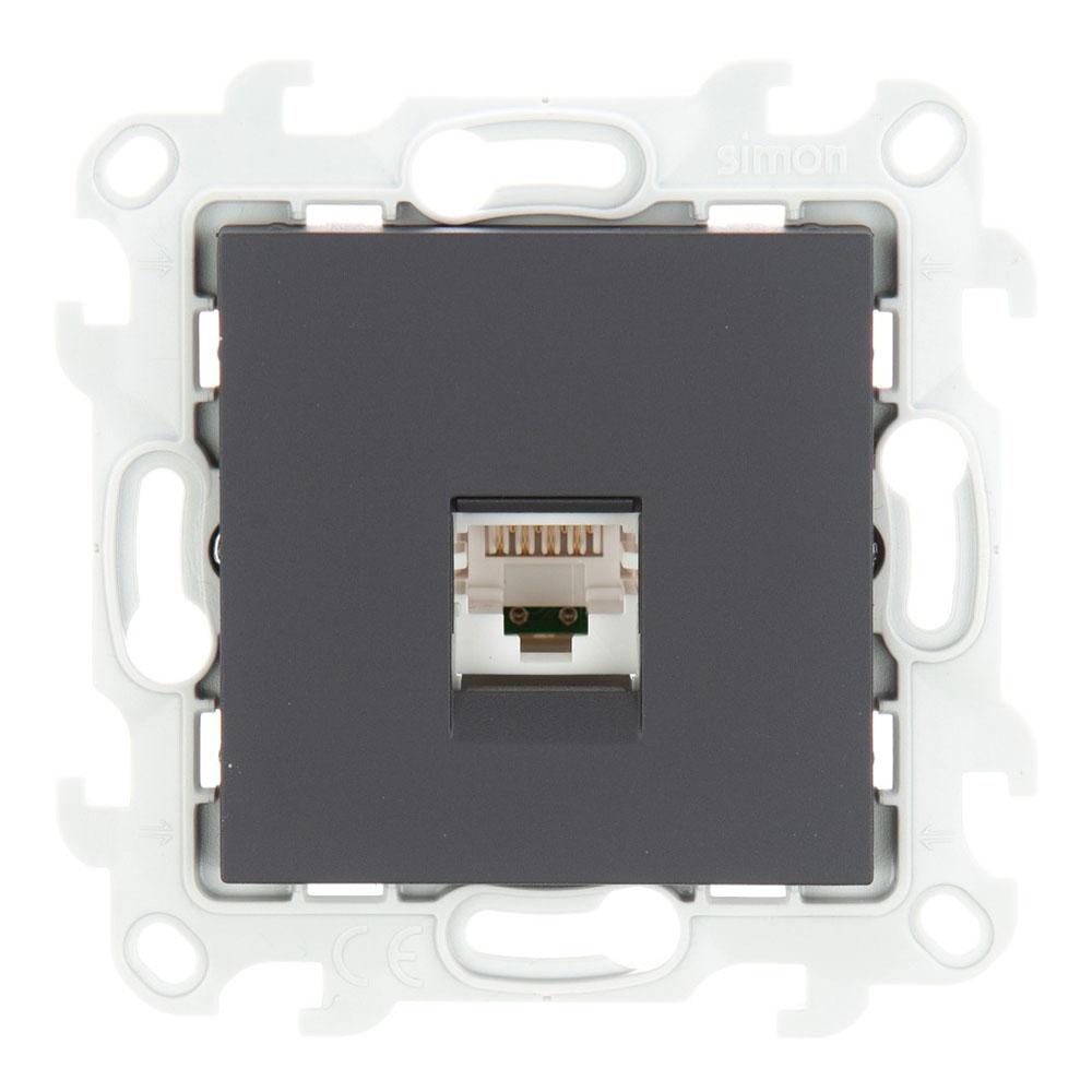 Розетка компьютерная Simon 24 Harmonie 2410598-038 скрытая установка графит один модуль RJ45 cat 5е розетка с рамкой simon 15 1590459 038 двойная скрытая установка графит с заземлением