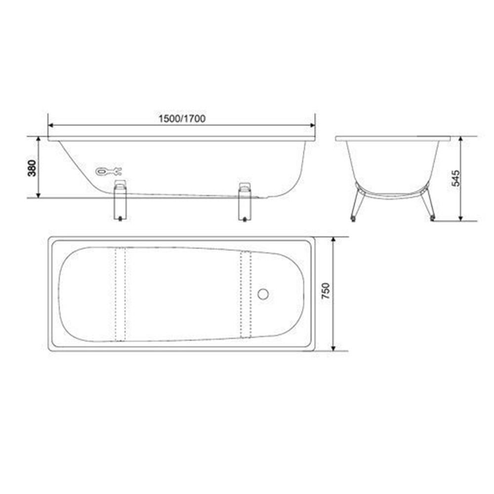 Ванна стальная WHITE WAVE Classic 170х75 см толщина 230 мм с ножками.