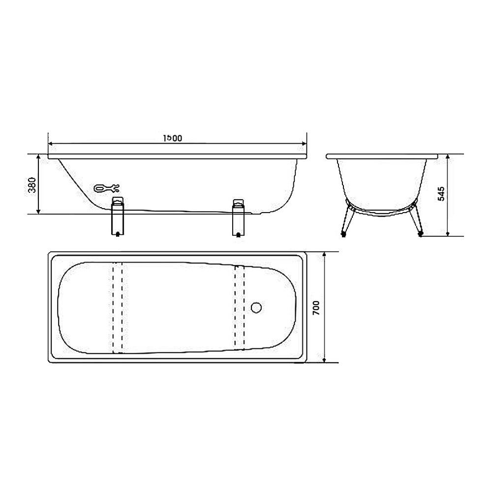 Ванна стальная WHITE WAVE Optimo 150х70 см толщина 230 мм с ножками.