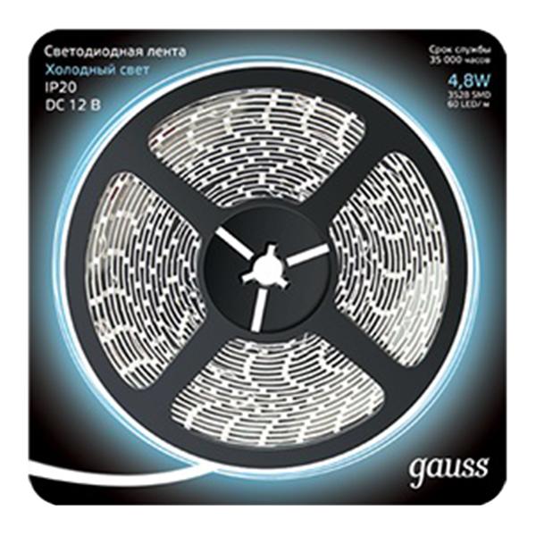Лента светодиодная SMD 2835 Gauss 6500 К холодный свет 4,8 Вт 12 В IP20 5 м