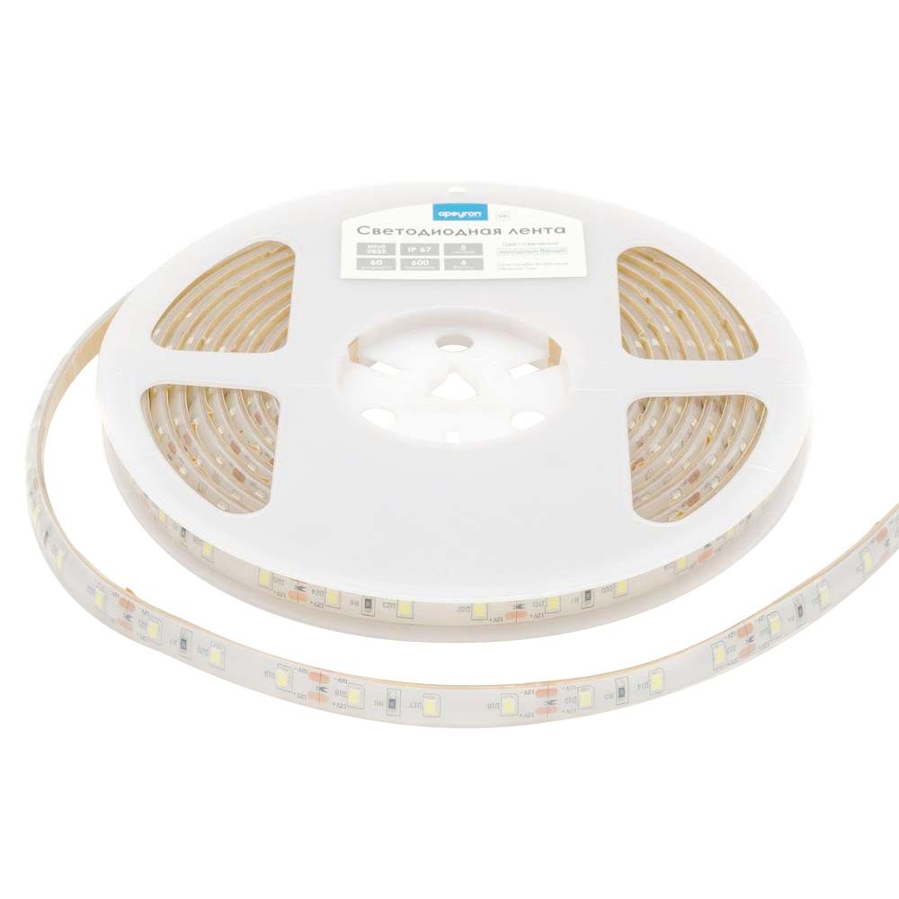 Лента светодиодная SMD 2835 Apeyron 6000 К холодный свет 6 Вт 12 В IP67 5 м влагозащищенная