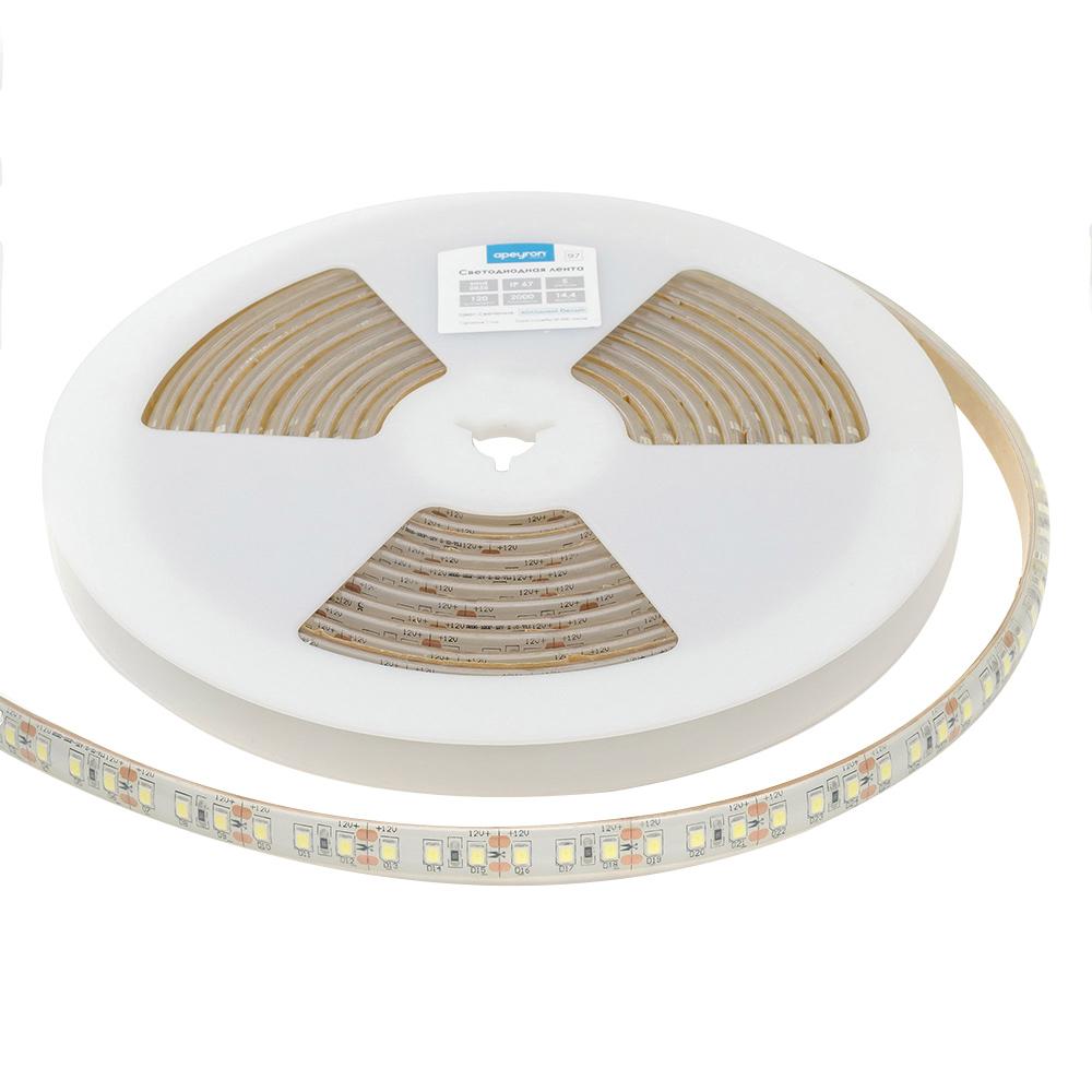 Лента светодиодная SMD 2835 Apeyron 6000 К холодный свет 14,4 Вт 12 В IP67 5 м влагозащищенная