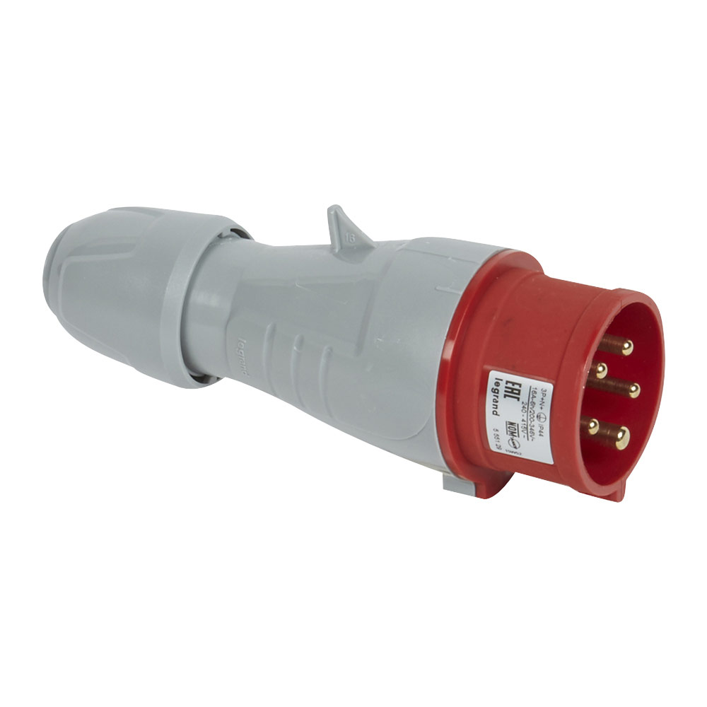 Вилка кабельная Legrand P17 TEMPRA PRO (90119) прямая переносная с заземлением 3P+N+E 3 фазы 16 А 380 В IP44 серая
