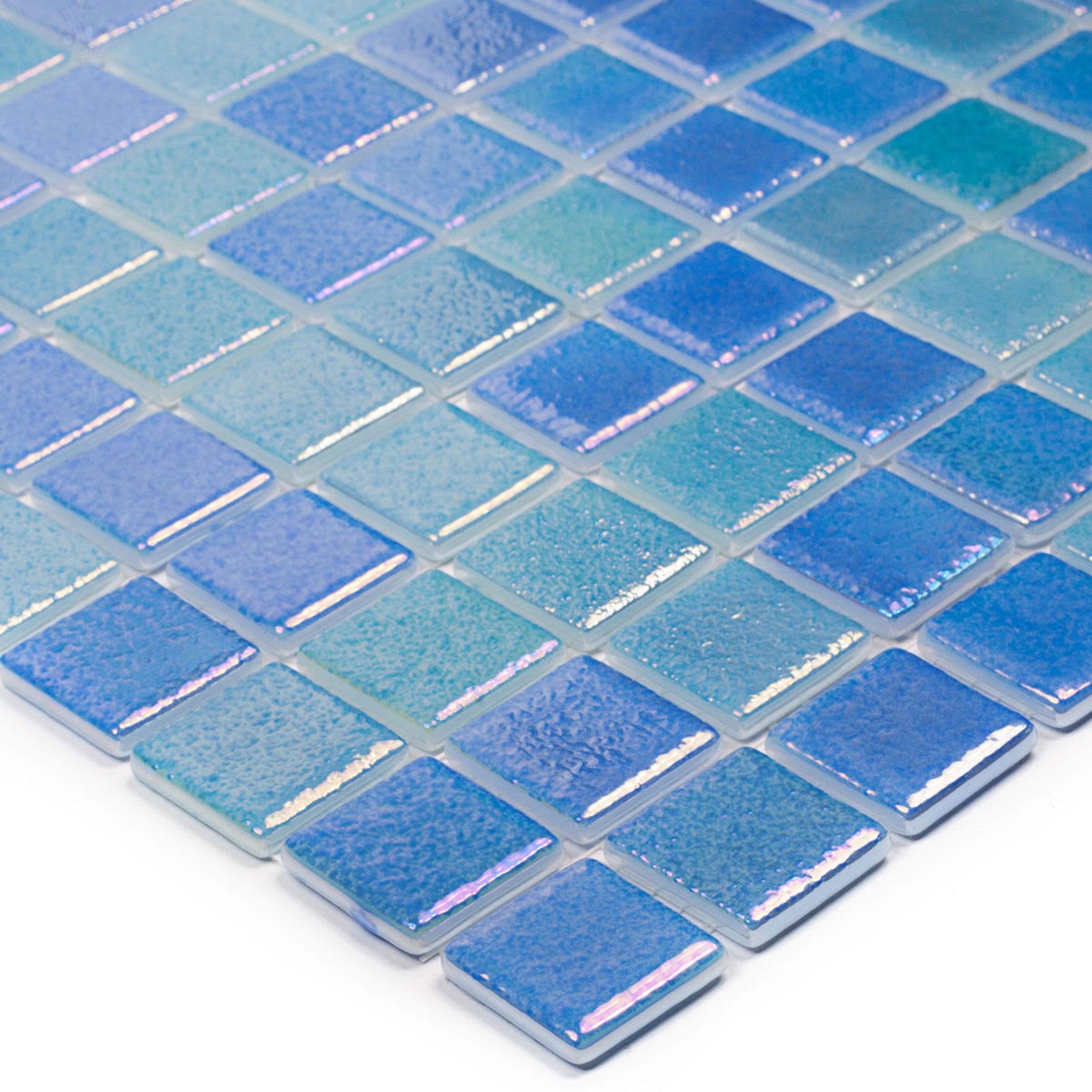 Мозаика Vidrepur Perla Blue синий перламутр стеклянная 317х317х4 мм