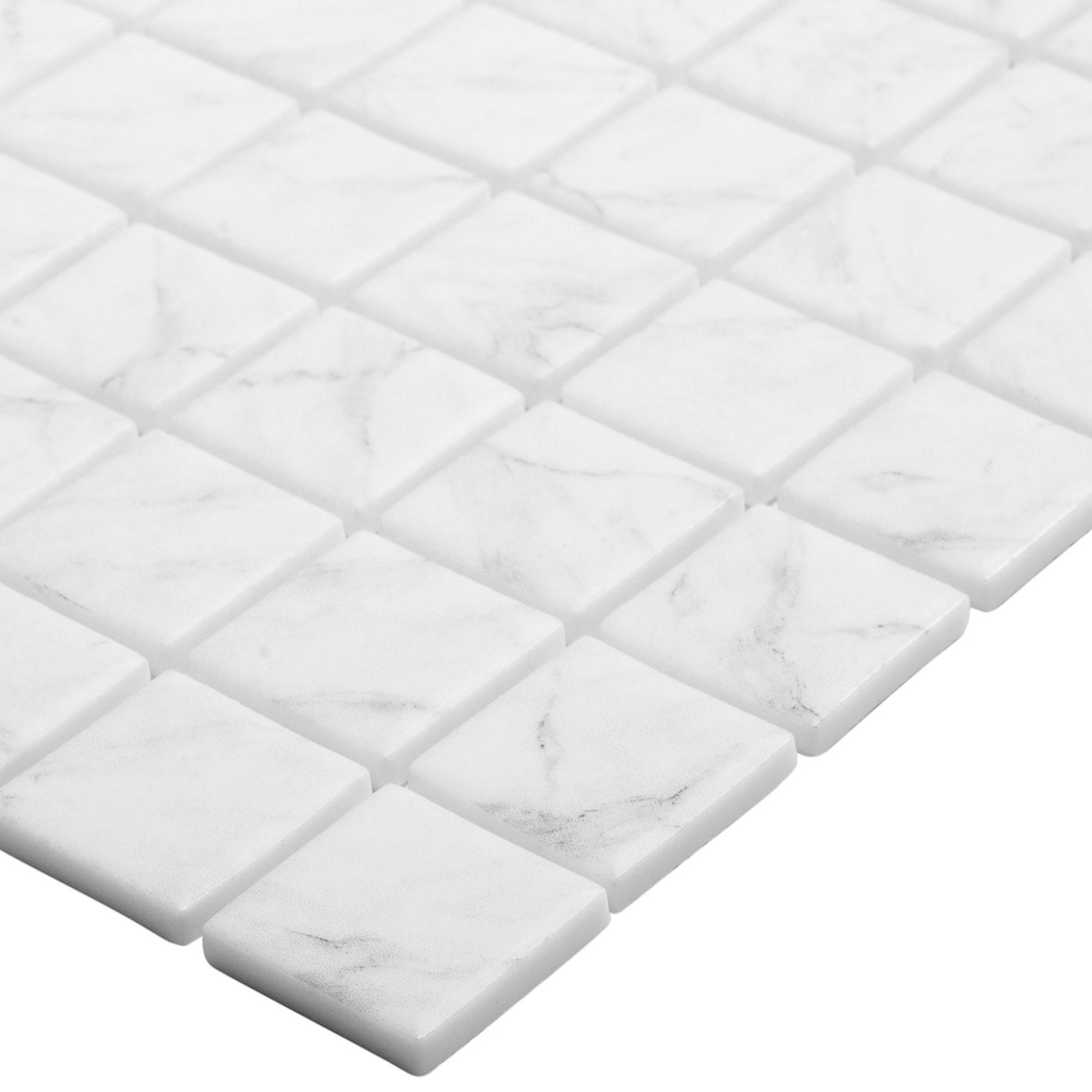 Мозаика Vidrepur Marble № 4300 белая под мрамор стеклянная 317х317х4 мм