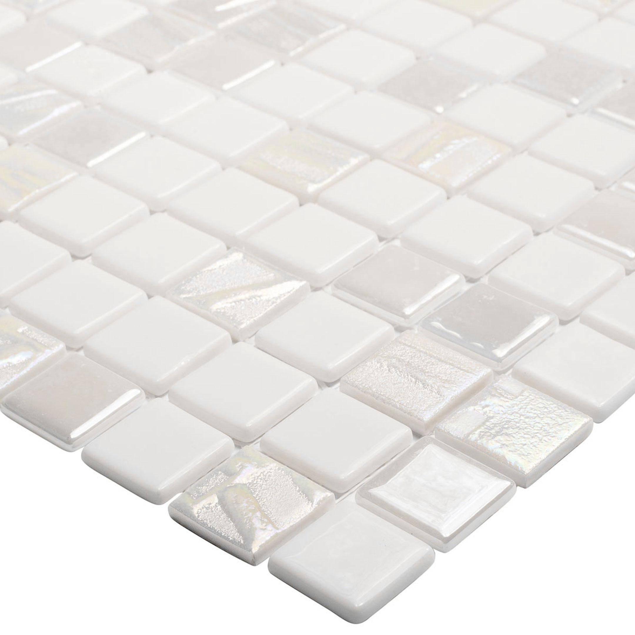 Мозаика Vidrepur Astro Blanco белая стеклянная 317х317х4 мм