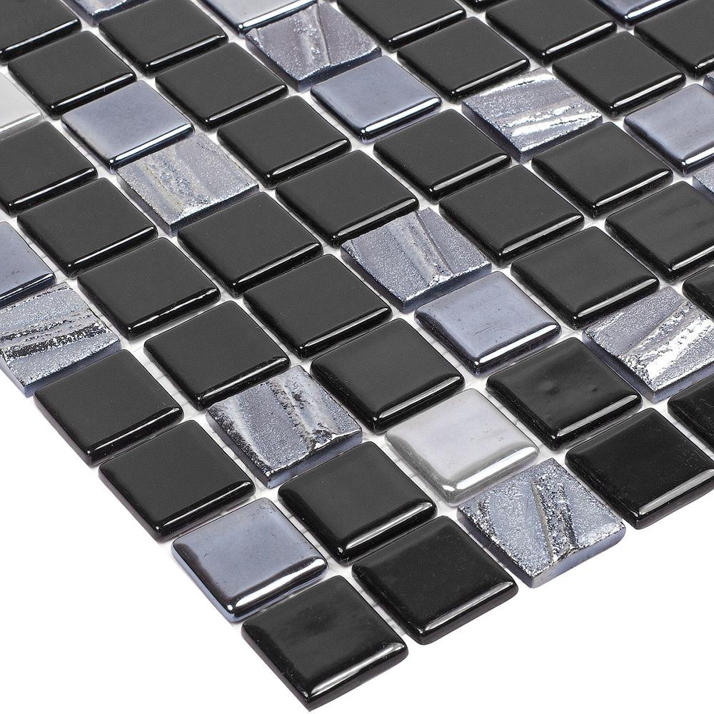 Мозаика Vidrepur Astro черная стеклянная 317х317х4 мм глянцевая
