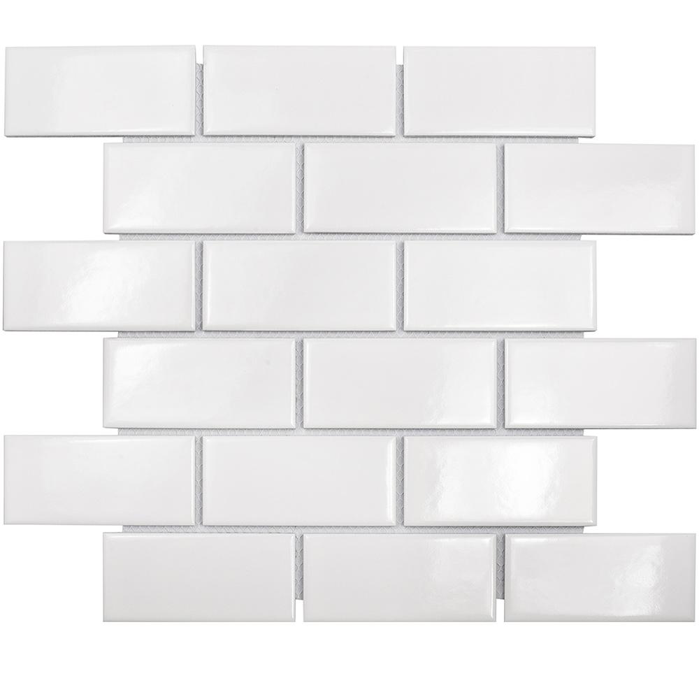Мозаика Starmosaic Brick White Glossy белая керамическая 288х294х4,5 мм глянцевая
