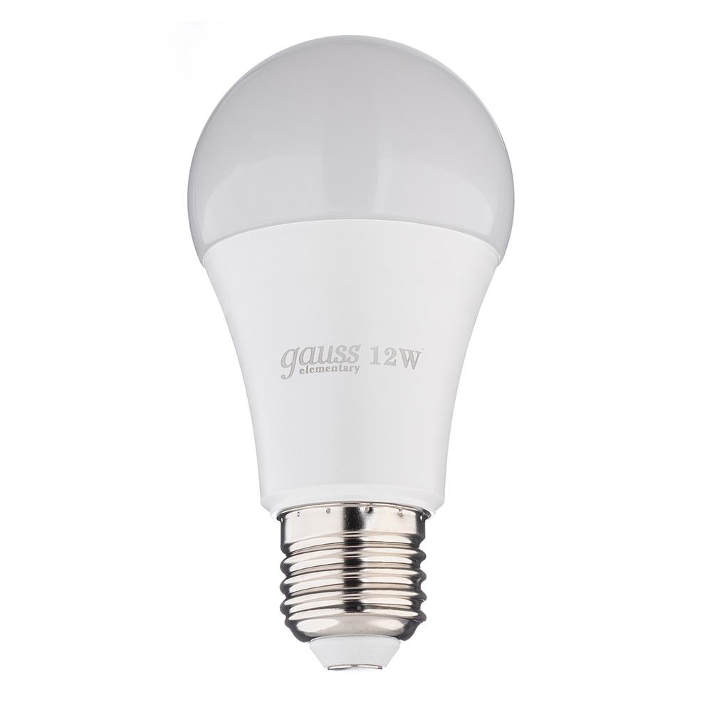 Лампа светодиодная Gauss Elementary 12 Вт E27 груша A60 6500 К холодный свет 180-240 В матовая