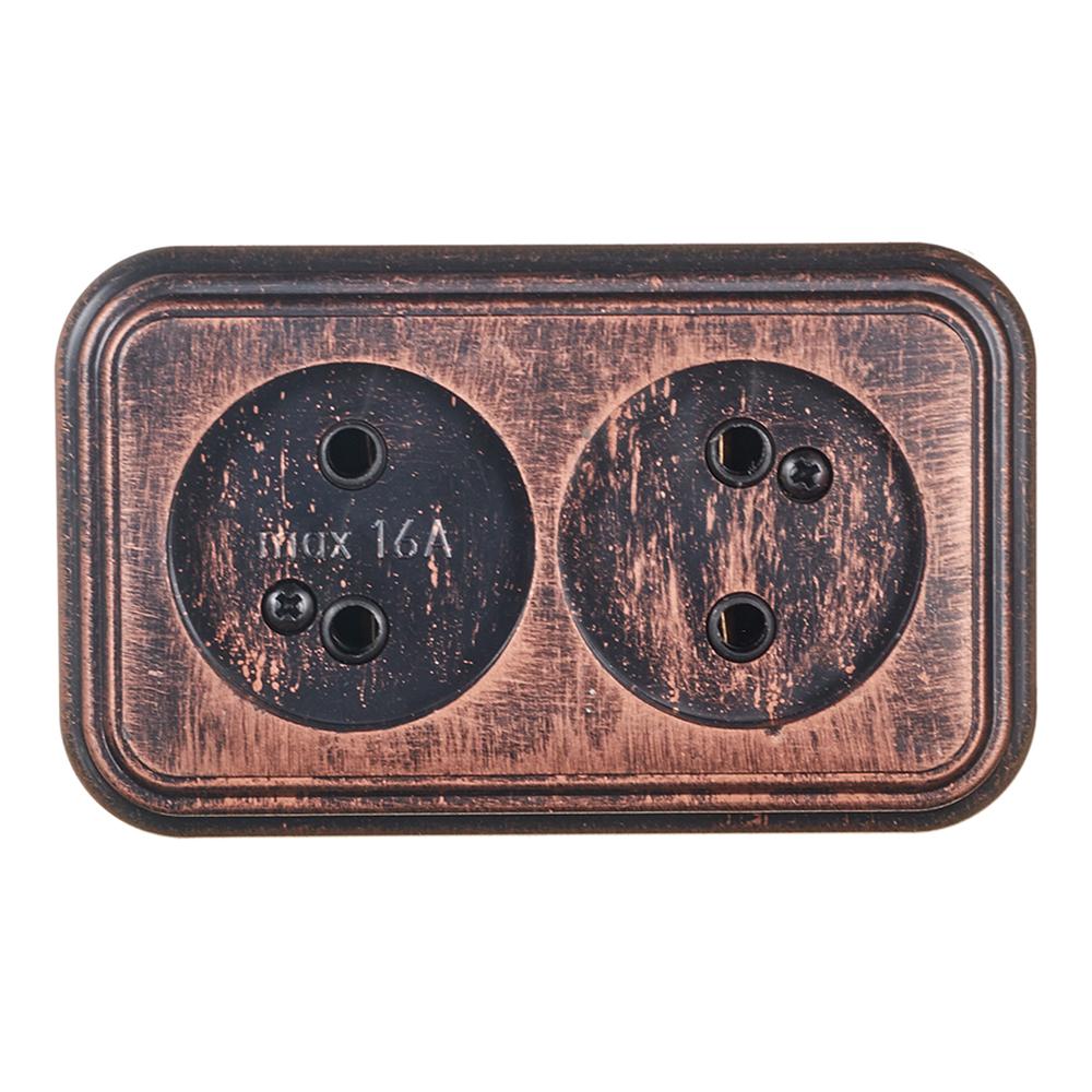 Розетка Lavelly Antico двойная RA16-237-C открытая установка медь без заземления