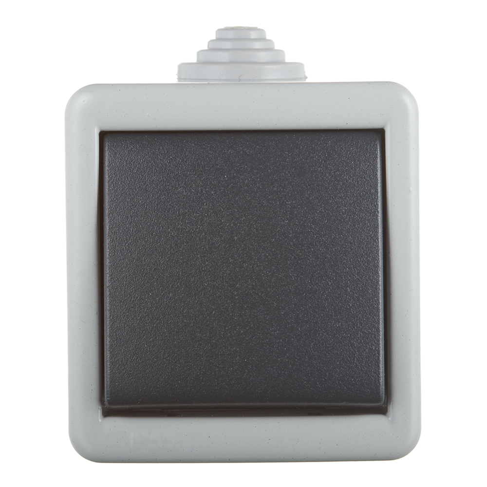 Переключатель Aling-conel 283.1A одноклавишный на 2 направления открытая установка серый IP55 металлический