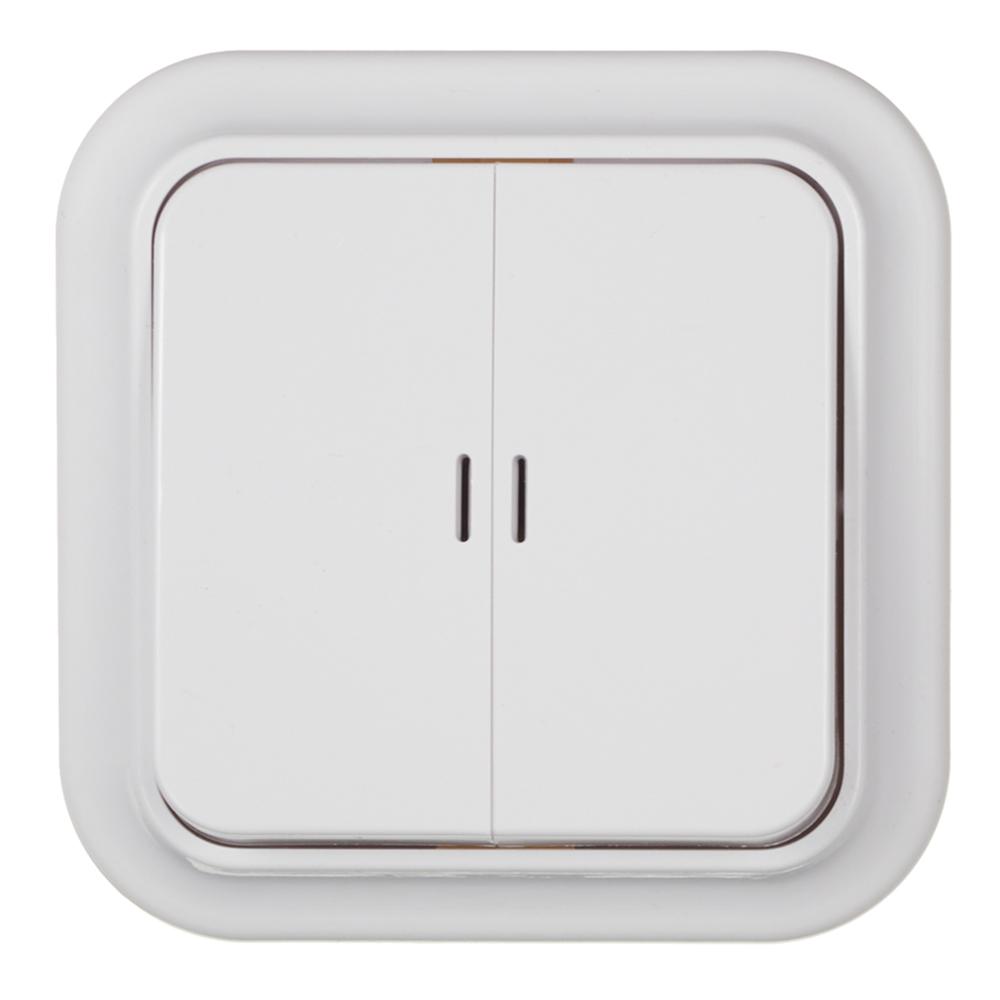 Выключатель SVET двухклавишный открытая установка белый с подсветкой