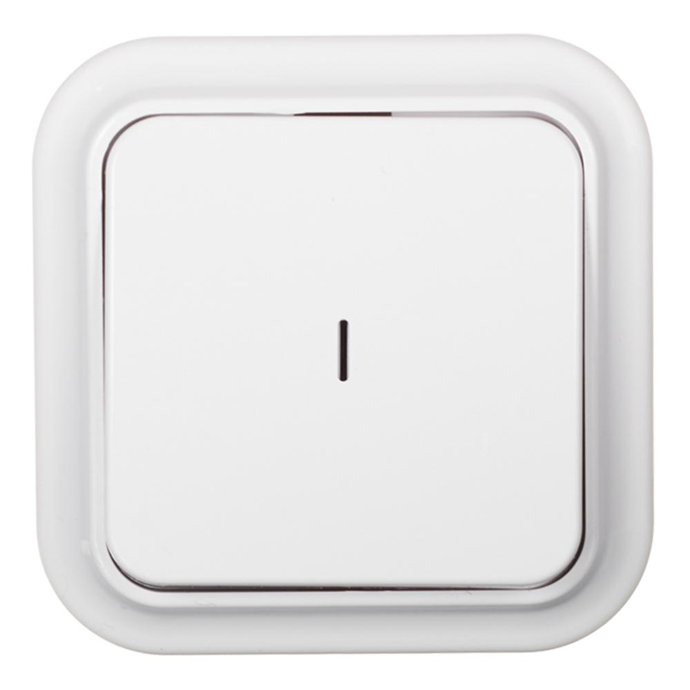 Выключатель SVET одноклавишный открытая установка белый с подсветкой