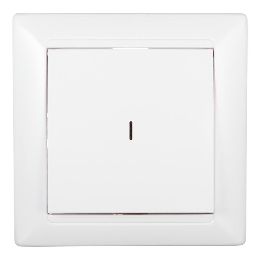 Выключатель с рамкой SVET одноклавишный скрытая установка белый с подсветкой