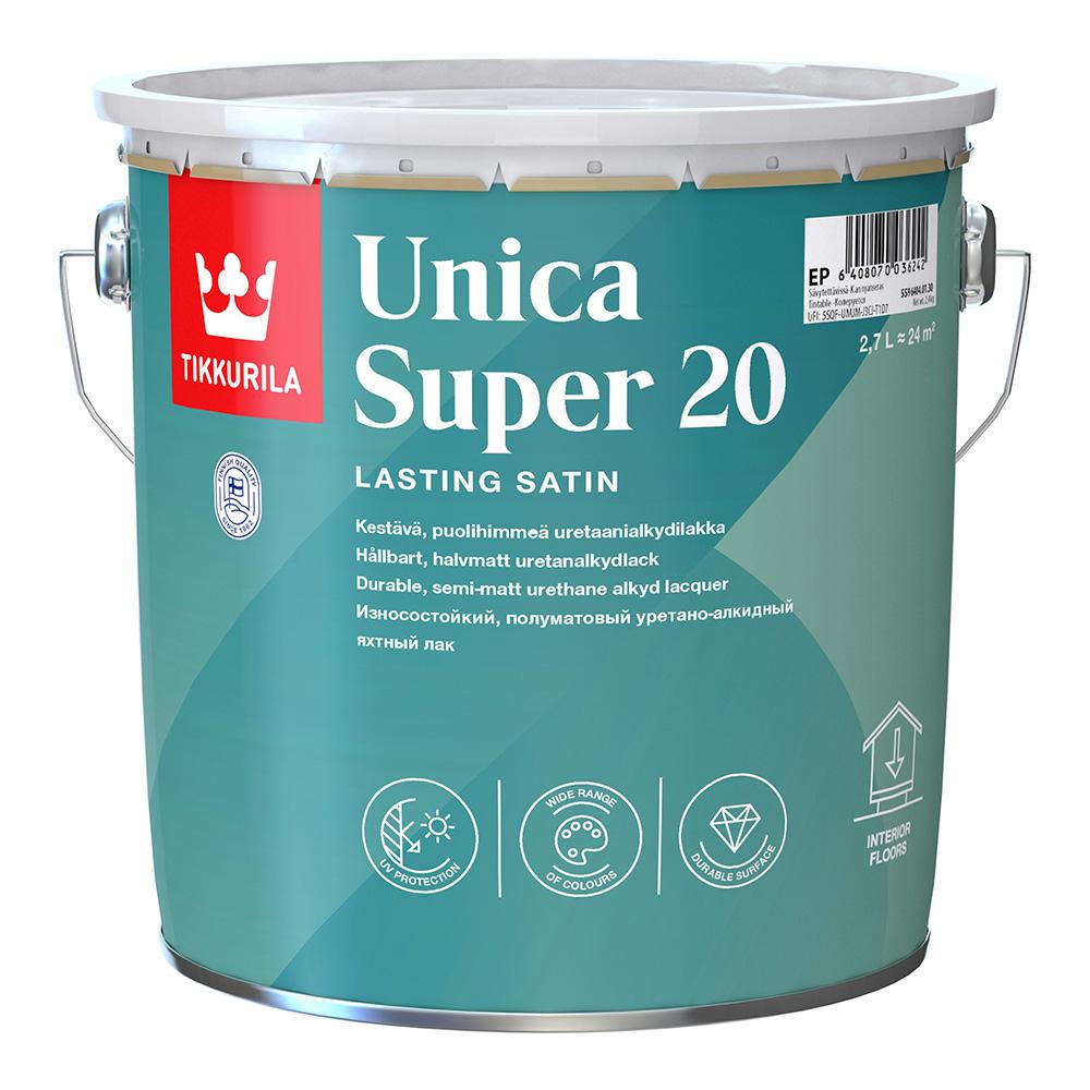Лак алкидно-уретановый яхтный Tikkurila Unica Super 20 основа EP бесцветный 2,7 л полуматовый