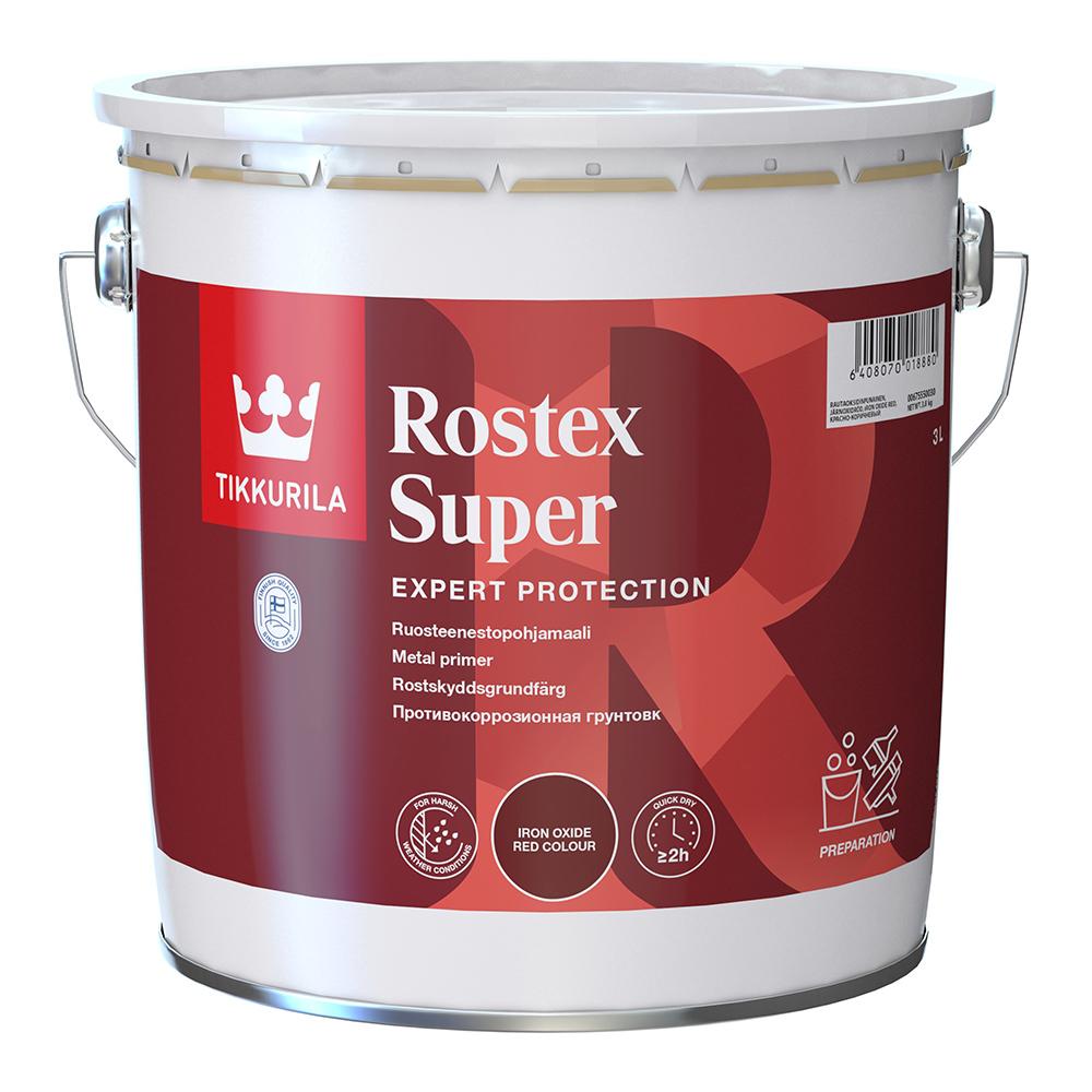 Грунт Tikkurila Rostex Super красно-коричневый матовый 3 л