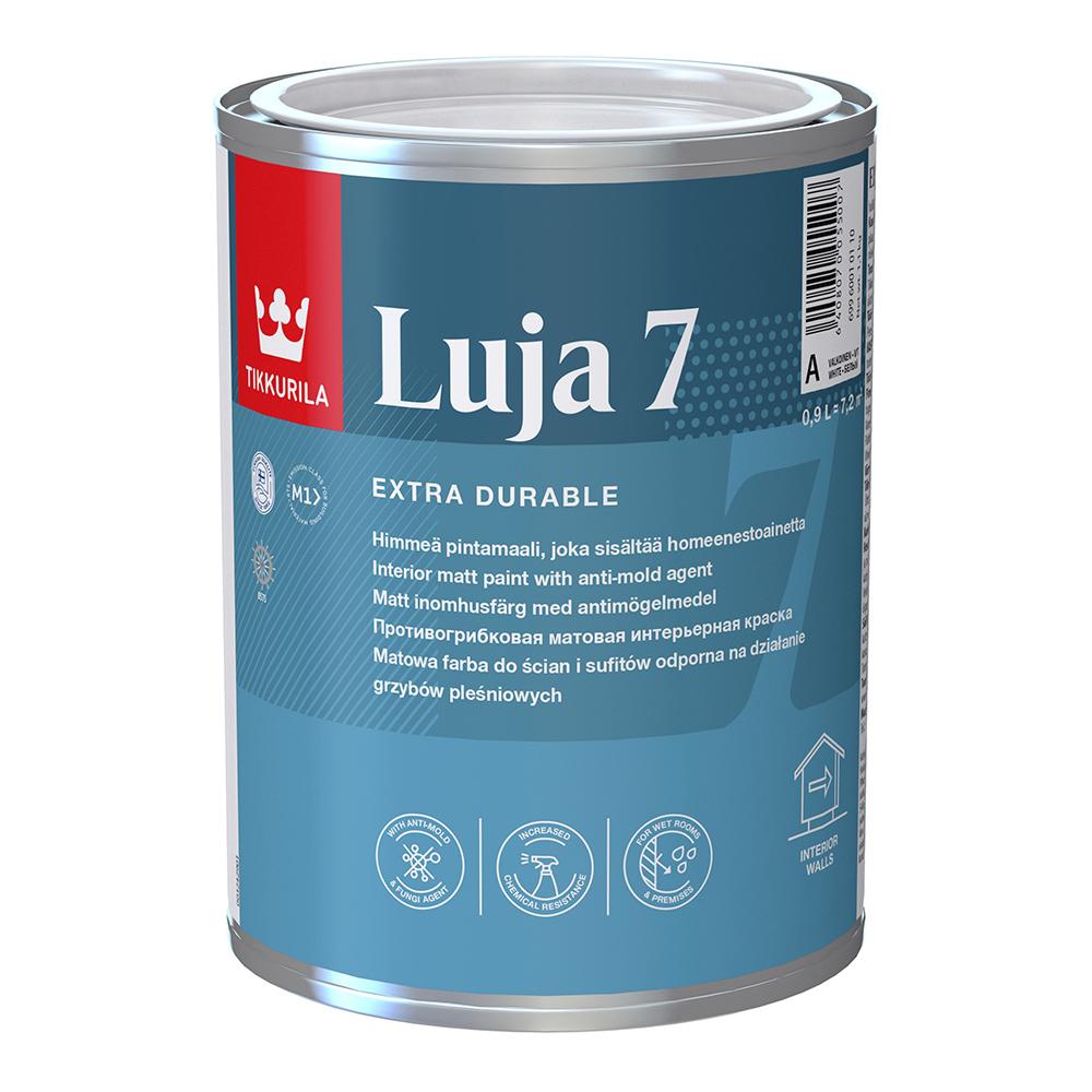 Краска водно-дисперсионная Tikkurila Luja 7 Himmea моющаяся белая основа А 0,9 л