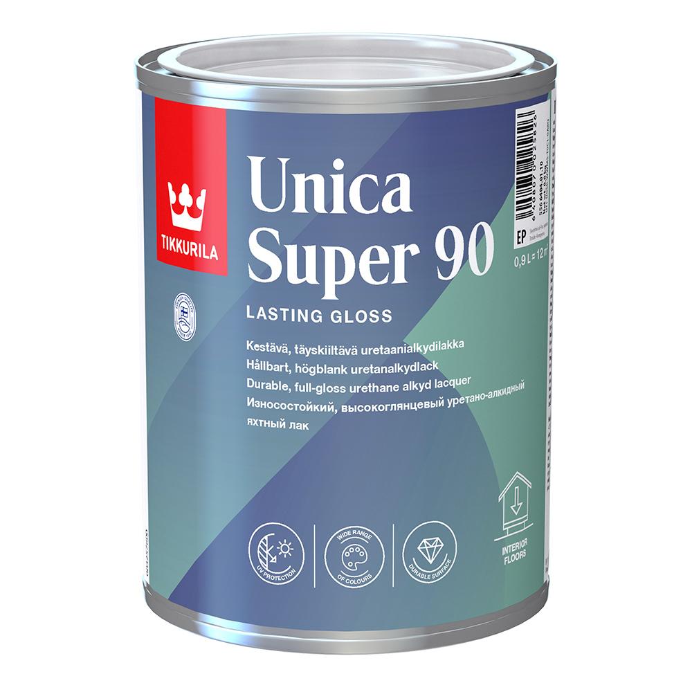 Лак алкидно-уретановый яхтный Tikkurila Unica Super 90 основа EP бесцветный 0,9 л высокоглянцевый