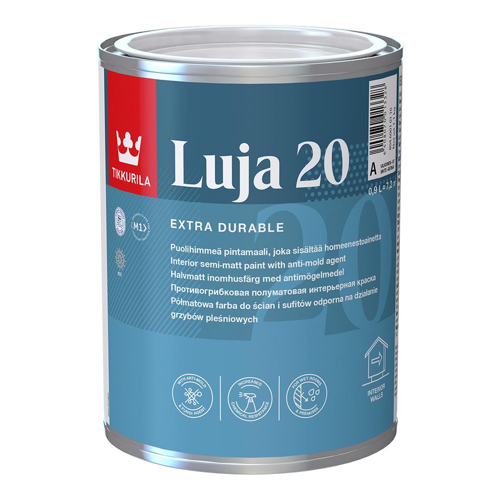 Краска водно-дисперсионная Tikkurila Luja 20 Puolihimmea моющаяся белая основа А 0,9 л