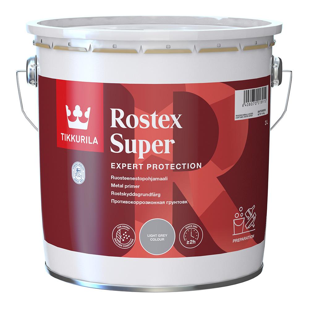 Грунт Tikkurila Rostex Super светло-серый матовый 3 л