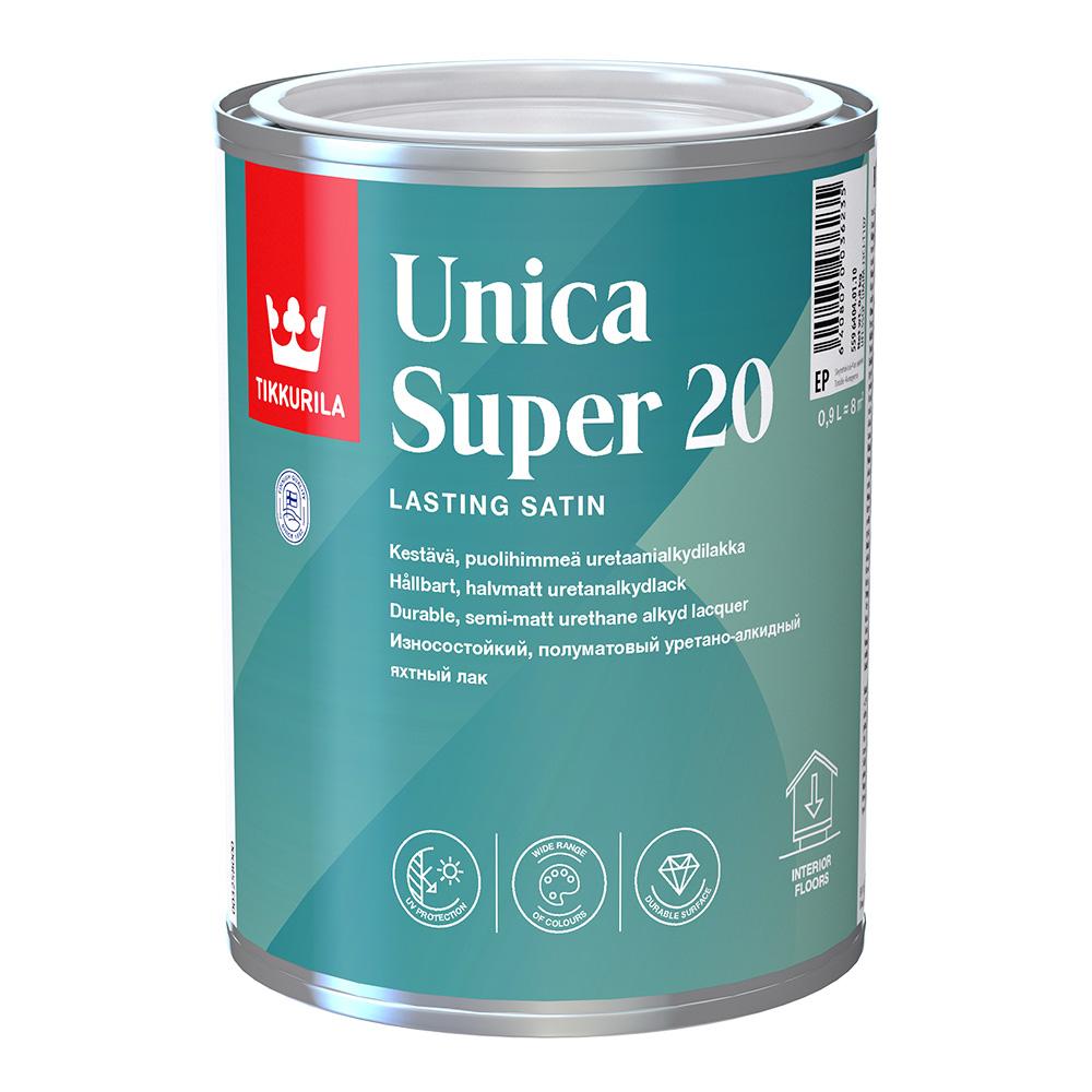 Лак алкидно-уретановый яхтный Tikkurila Unica Super 20 основа EP бесцветный 0,9 л полуматовый
