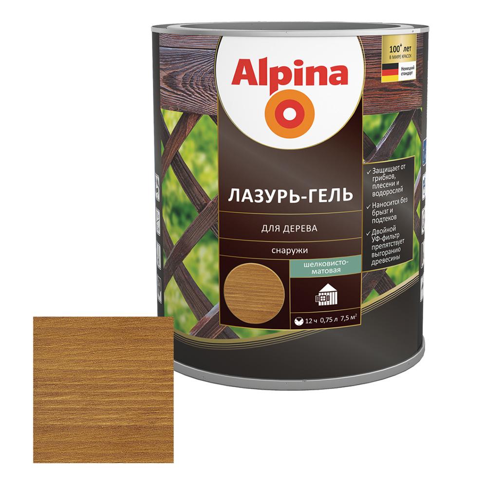 Антисептик Alpina Лазурь-гель декоративный для дерева тик 0,75 л