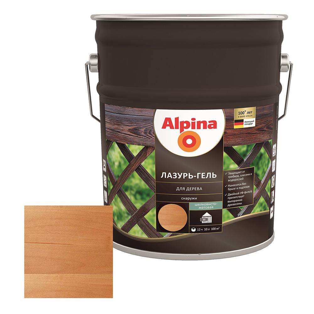 Антисептик Alpina Лазурь-гель декоративный для дерева рябина 10 л