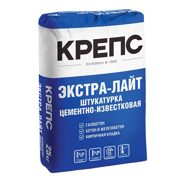 Штукатурка цементно-известковая Крепс Экстра-Лайт 25 кг