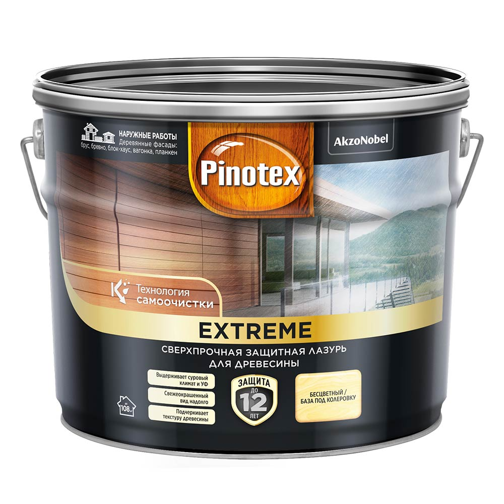 Лазурь Pinotex Extreme для дерева BC 9 л