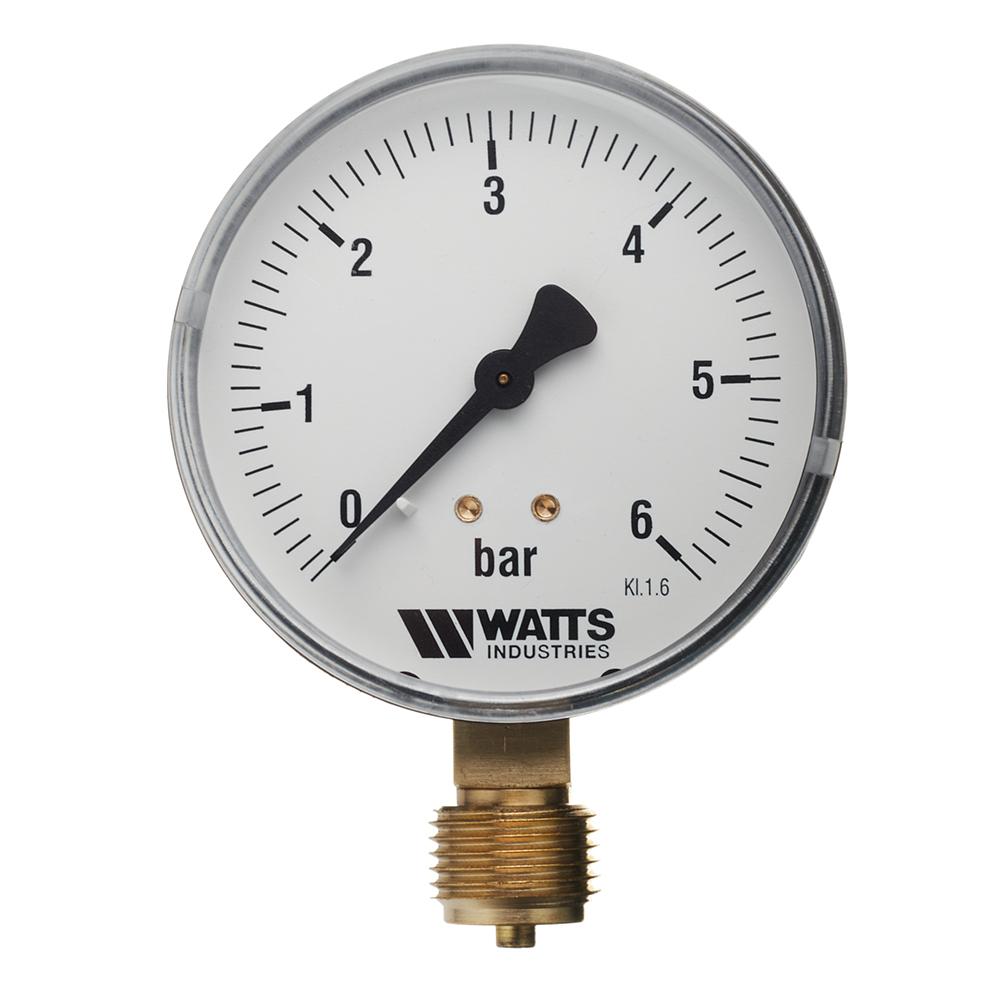 Манометр Watts (10007790) 1/2 НР(ш) радиальный 6 бар d80 мм