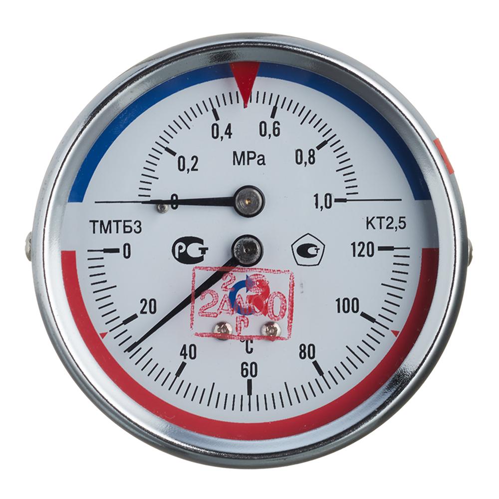 Термоманометр РОСМА ТМТБ-31Т.1 (2292) 1 1/2 НР(ш) аксиальный 10 бар d80 мм 120°С