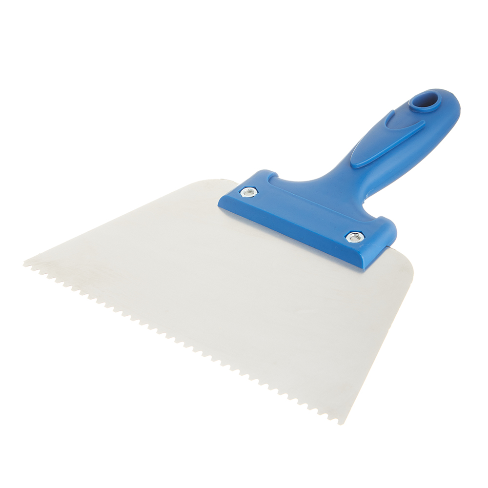 Шпатель для клея зубчатый 180 мм B2 нержавеющая сталь синий с пластиковой ручкой