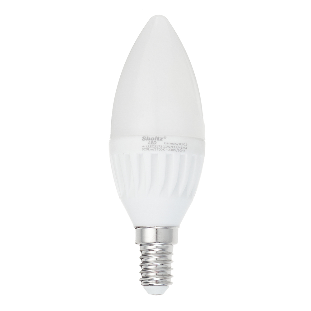 Лампа светодиодная Sholtz 11 Вт Е14 свеча С37 2700 К теплый свет 220-240 В матовая керамика/пластик