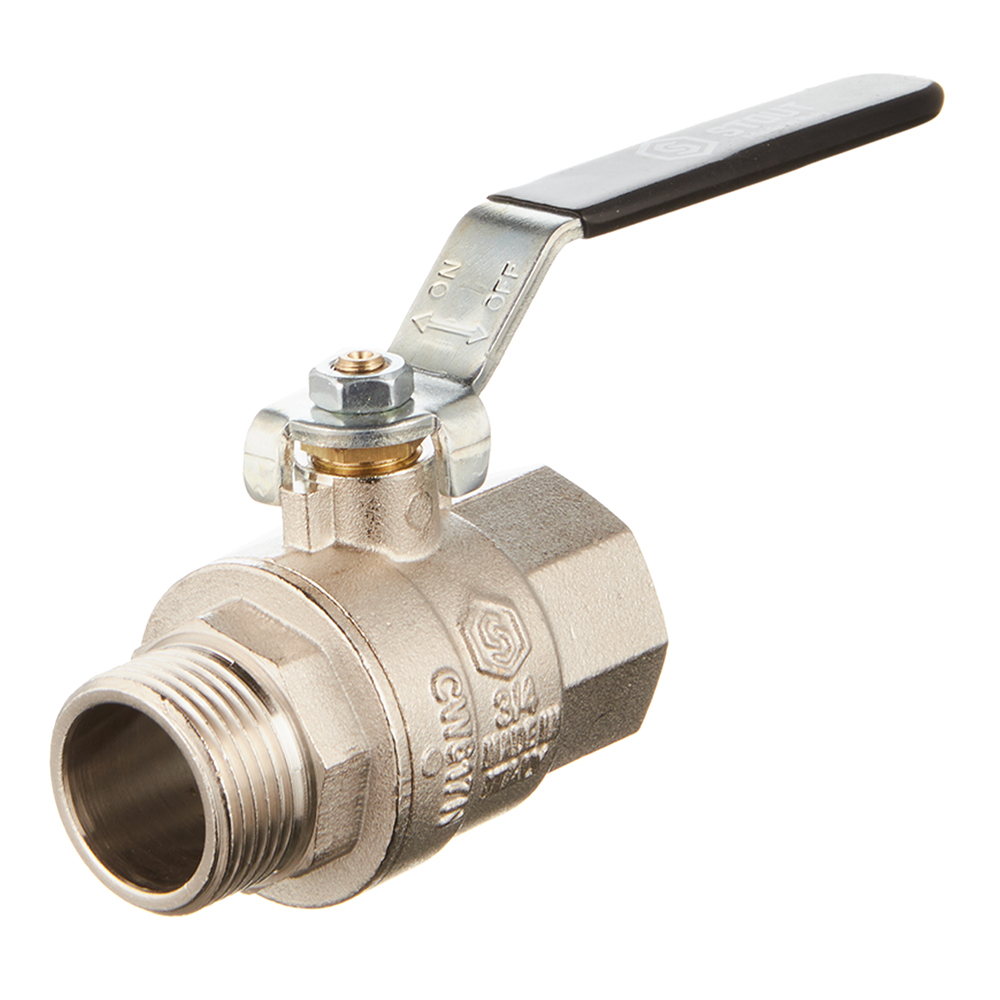 Кран шаровой латунный Stout (SVB-0003-000020) 3/4 ВР(г) х 3/4 НР(ш) ручка прямой