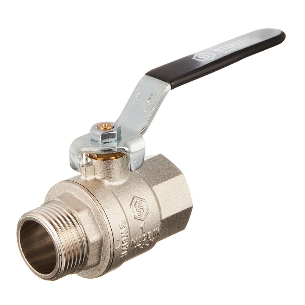Кран шаровой латунный Stout (SVB-0003-000025) 1 ВР(г) х 1 НР(ш) ручка прямой