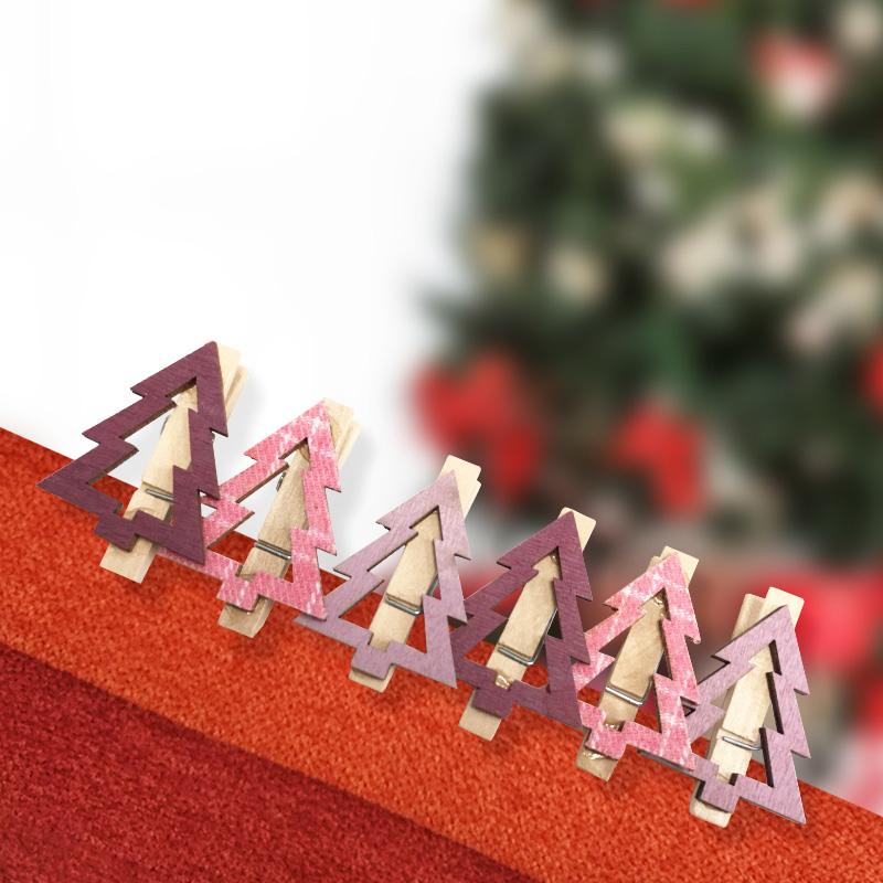 Новогоднее украшение прищепки деревянные Neon-Night (504-032) Елочки 14,5х4,5х1,6 cм розовые