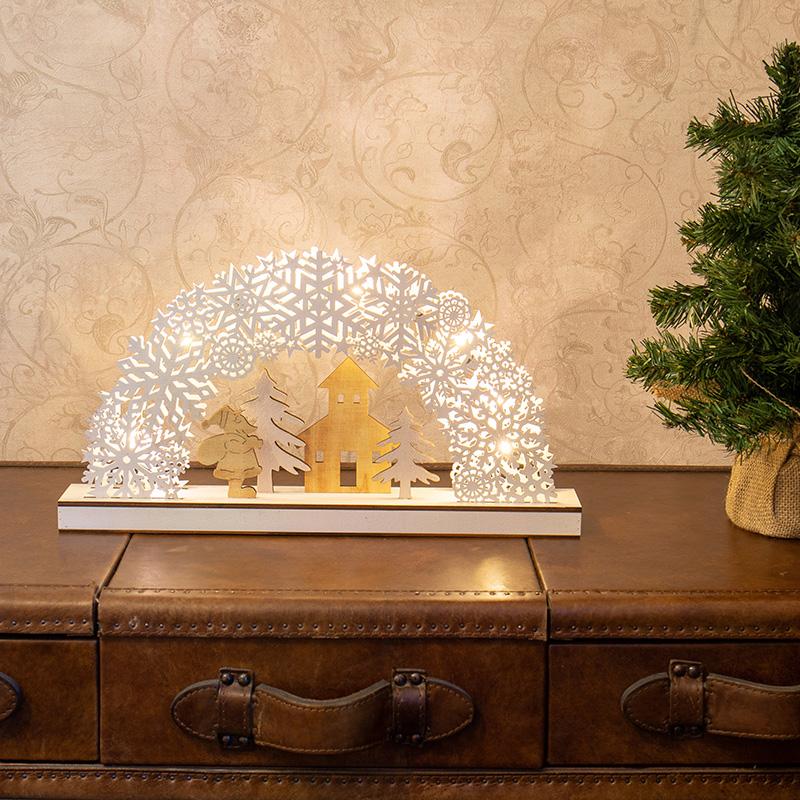 Новогоднее украшение фигура дереваянная Neon-Night (504-021) Рождественская сказка 44,5х6х24 см свечение теплое белое