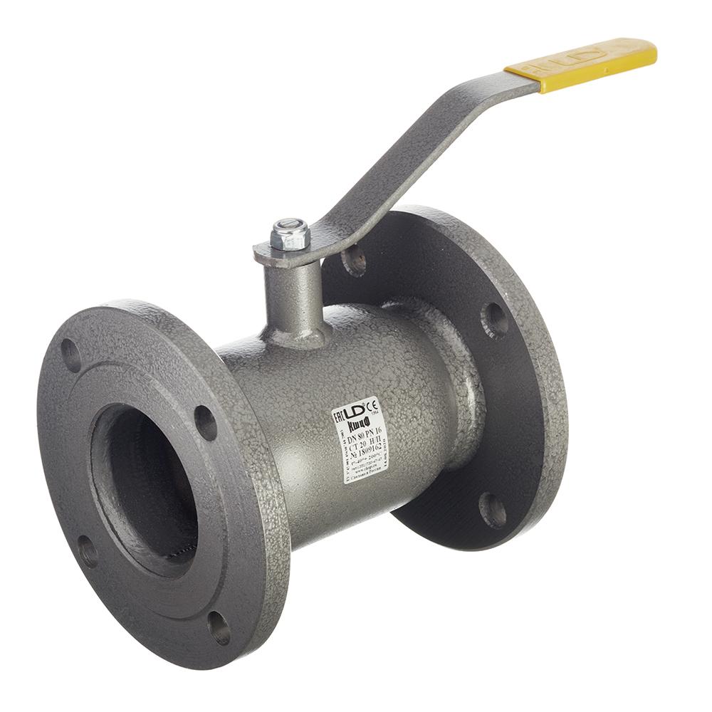Кран шаровой фланцевый стандартнопроходной DN80 стальной PN16